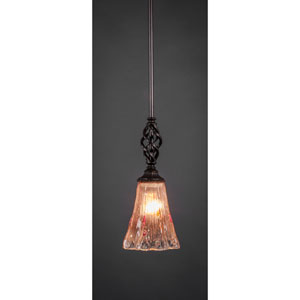Elegante Dark Granite 5.5-Inch One Light Mini Pendant with Amber Crystal Glass Shade