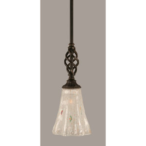 Elegante Dark Granite 5.5-Inch One Light Mini Pendant with Frosted Crystal Glass
