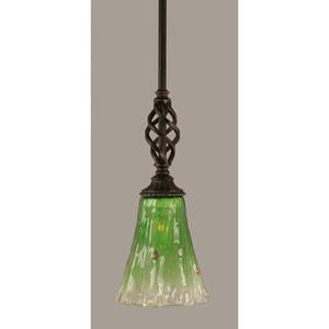 Elegante Dark Granite 5.5-Inch One Light Mini Pendant with Kiwi Green Crystal Glass