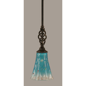 Elegante Dark Granite 5.5-Inch One Light Mini Pendant with Teal Crystal Glass