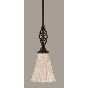 Elegante Dark Granite 5.5-Inch One Light Mini Pendant with Italian Ice Glass