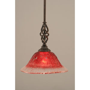 Elegante Dark Granite One-Light Mini Pendant with Raspberry Crystal Glass Shade