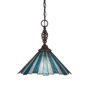 Eleganté Dark Granite One-Light Pendant with Sea Ice Tiffany Glass