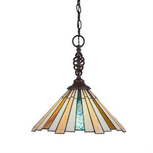 Eleganté Dark Granite One-Light Pendant with Sequoia Tiffany Glass