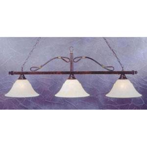 Mahogany Three-Light Wrought Iron Billiard Pendant with Amber Marble Glass