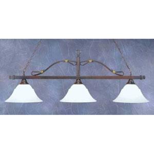 Mahogany Three-Light Wrought Iron Billiard Pendant with White Marble Glass