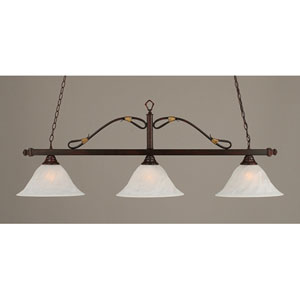 Mahogany Three-Light Wrought Iron Billiard Pendant with White Alabaster Swirl Glass