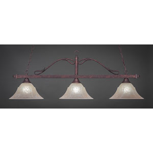 Billiard Bronze Wrought Iron Rope Three-Light Island Pendant with 14-Inch Amber Marble Glass Shade