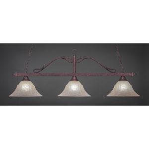Billiard Bronze Wrought Iron Rope Three-Light Island Pendant with 14-Inch Amber Marble Glass Shade