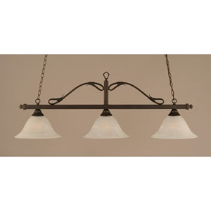 Scroll Bronze Three-Light Billiard Light w/ 14-Inch White Alabaster Glass