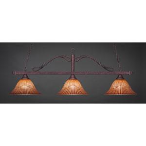 Bronze Three-Light Wrought Iron Billiard Pendant with Tiger Glass