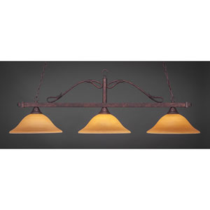 Scroll Bronze Three-Light Billiard Light w/ 16-Inch Cayenne Linen Glass