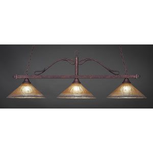 Bronze Three-Light Wrought Iron Billiard Pendant with Amber Crystal Glass