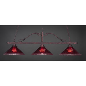 Scroll Bronze Three-Light Billiard Light w/ 16-Inch Raspberry Crystal Glass