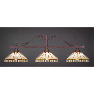 Scroll Bronze Three-Light Billiard Light w/ 15-Inch Honey and Brown Mission Tiffany Glass