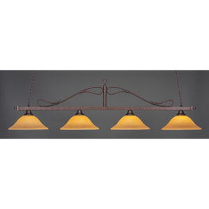 Scroll Bronze Four-Light Island Pendant with Cayenne Linen Glass