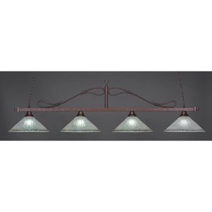 Scroll Bronze Four-Light Island Pendant with Frosted Crystal Glass