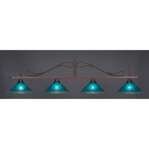 Scroll Bronze Four-Light Island Pendant with Teal Crystal Glass