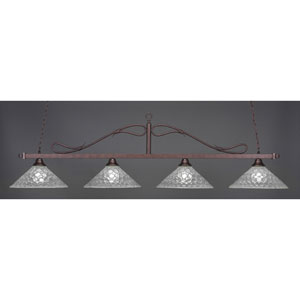 Billiard Bronze Wrought Iron Rope Four-Light Island Pendant with 16-Inch Italian Bubble Glass Shade