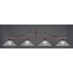 Billiard Bronze Wrought Iron Rope Four-Light Island Pendant with 16-Inch Italian Bubble Glass Shade