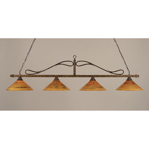 Billiard Bronze Wrought Iron Rope Four-Light Island Pendant with 16-Inch Firre Saturn Glass Shade