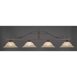 Bronze Four-Light Wrought Iron Billiard Pendant with Italian Marble Glass