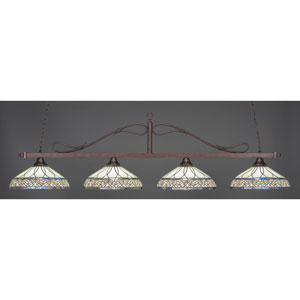 Billiard Bronze Wrought Iron Rope Four-Light Island Pendant with 16-Inch Royal Merlot Tiffany Glass