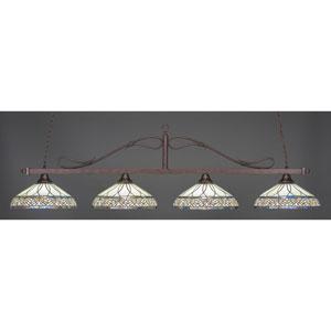 Billiard Bronze Wrought Iron Rope Four-Light Island Pendant with 16-Inch Royal Merlot Tiffany Glass