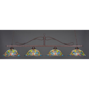 Billiard Bronze Wrought Iron Rope Four-Light Island Pendant with 18.25-Inch Kaleidoscope Tiffany Glass