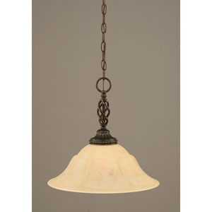 Elegante Dark Granite One-Light Pendant with Italian Marble Glass Shade