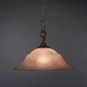 Eleganté Dark Granite 20-Inch One Light Pendant with Amber Marble Glass