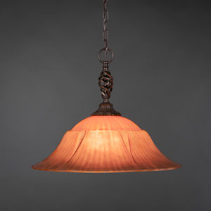 Eleganté Dark Granite 20-Inch One Light Pendant with Tiger Glass