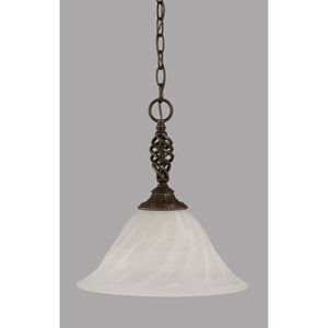 Elegante Dark Granite 14-Inch One Light Pendant with White Alabaster Swirl Glass