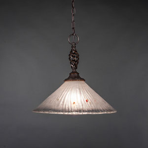 Elegante Dark Granite One-Light Pendant with Frosted Crystal Glass Shade