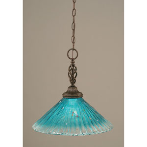 Elegante Dark Granite One-Light Pendant with Teal Crystal Glass Shade