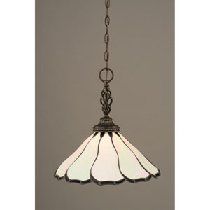 Elegante Dark Granite One-Light Pendant with Pearl Flair Tiffany Glass