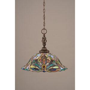 Elegante Dark Granite One-Light Pendant with Kaleidoscope Tiffany Glass