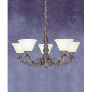 Bronze Five-Light Chandelier with Amber Marble Glass