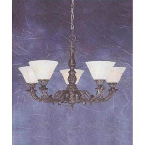 Bronze Five-Light Chandelier with Italian Marble Glass