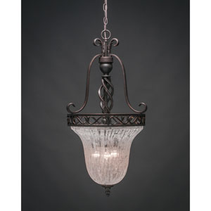 Elegante Dark Granite Foyer Light with Italian Ice Glass