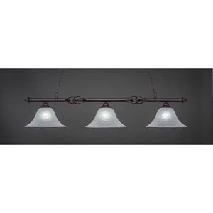 Elegante Dark Granite Three-Light Island Pendant with 14-Inch White Marble Glass Shades