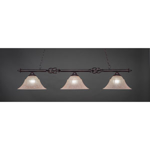 Elegante Dark Granite Three-Light Island Pendant with 14-Inch Italain Marble Glass Shades