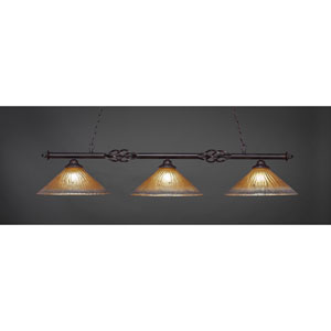 Elegante Dark Granite Three-Light Island Pendant with 16-Inch Amber Crystal Glass Shades
