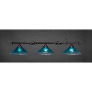 Elegante Dark Granite Three-Light Island Pendant with 16-Inch Teal Crystal Glass Shades