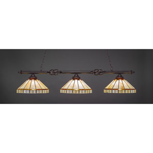Elegante Dark Granite Three-Light Island Pendant with 16-Inch Honey And Brown Mission Tiffany Glass
