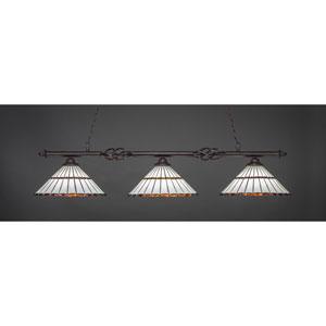 Elegante Dark Granite Three-Light Island Pendant with 16-Inch Honey Glass And Amber Brown Jewels Tiffany Glass