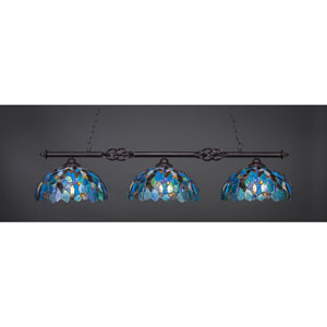Elegante Dark Granite Three-Light Island Pendant with 16-Inch Blue Mosaic Tiffany Glass