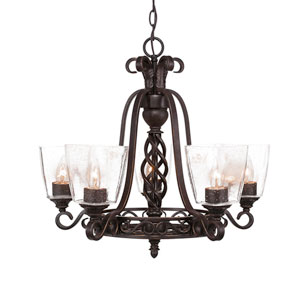 Eleganté Dark Granite Five-Light 21.5-Inch Chandelier with 4.5-Inch Clear Bubble Glass