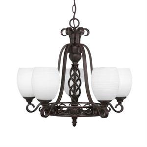 Eleganté Dark Granite Five-Light 21-Inch Chandelier with 5-Inch White Linen Glass