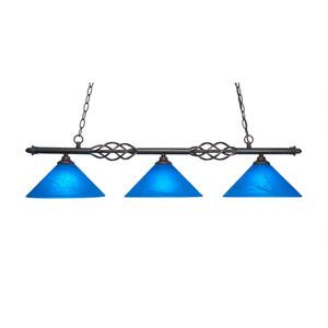 Eleganté Dark Granite Three-Light Island Pendant with 12-Inch Blue Italian Glass Shade